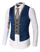 cheap Men's Shirts-Men's Work Spring / Fall Regular Vest, Color Block V Neck Sleeveless Polyester Patchwork Black / Red / Khaki XL / XXL / XXXL