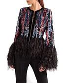 ieftine Jachete & Blazer Damă-Pentru femei Zilnic De Bază Regular Jachetă, Dungi / Bloc Culoare Rotund Manșon Lung Acrilic / Poliester Negru M / L / XL / Zvelt