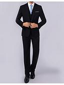 cheap Men's Blazers & Suits-Men's Work Business Plus Size Regular Blazer, Solid Colored Shirt Collar Long Sleeve Polyester Black / Royal Blue XXL / XXXL / 4XL / Business Formal / Slim