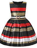 cheap Print Dresses-Kids / Toddler Girls' Vintage / Sweet Party / Holiday Striped / Color Block Bow Sleeveless Cotton / Rayon Dress Black