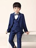 ราคาถูก ชุดสูทสำหรับเด็ก-สีน้ำเงินเข้ม โพลีเอสเตอร์ / ผ้าฝ้ายผสม แหวนสูทถือ - 1set รวม เสื้อกั๊ก