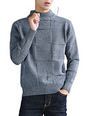 tanie Męskie swetry i swetry rozpinane-Męskie Codzienny Solidne kolory Długi rękaw Regularny Pulower Czarny / Ciemnoszary / Beżowy XL / XXL / XXXL