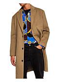 ieftine Jachete & Paltoane Bărbați-Bărbați Zilnic De Bază Mărime Plus Size Lung Palton, Mată Guler drept Manșon Lung Bumbac / Poliester Negru / Gri / Kaki XL / XXL / XXXL / Larg