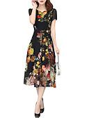 baratos Vestidos Estampados-Mulheres Elegante Tamanhos Grandes Calças - Floral Preto / Sexy