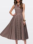 cheap Plus Size Dresses-Women's Daily Swing Dress - Polka Dot Brown Green Red XXL XXXL XXXXL