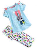 hesapli Kız Çocuk Kıyafet Setleri-Çocuklar Toddler Genç Kız Actif Temel Günlük Tatil Desen Karton Desen Kısa Kollu Normal Pamuklu Kıyafet Seti Açık Mavi