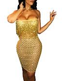 cheap Women's Dresses-Women's Party / Club Elegant Slim Bodycon / Sheath Dress - Solid Colored Sequins / Tassel / Glitter Off Shoulder Gold Silver M L XL / Super Sexy
