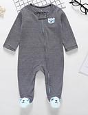 billige Sett med Gutter babyklær-Baby Gutt Aktiv Daglig Ensfarget / Stripet Langermet Polyester Endelt Hvit