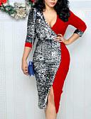cheap Party Dresses-Women's Party Daily Club Basic Slim Bodycon Sheath Wrap Dress - Geometric Color Block Sequins Split Patchwork High Waist Deep V Blue Black Red L XL XXL / Sexy