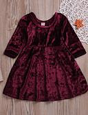Χαμηλού Κόστους Βρεφικά φορέματα-Μωρό Κοριτσίστικα Ενεργό / Βασικό Πάρτι / Γενέθλια Μονόχρωμο Πλισέ Μακρυμάνικο Κανονικό Κανονικό Ως το Γόνατο Spandex Φόρεμα Κρασί / Νήπιο