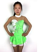 cheap Ice Skating Dresses , Pants & Jackets-Figure Skating Dress Women's / Girls' Ice Skating Dress Green Patchwork Spandex High Elasticity Competition Skating Wear Classic Long Sleeve Figure Skating
