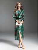 cheap Women's Dresses-Women's Going out Street chic Slim Swing Dress - Multi Color Print Shirt Collar Fall Green M L XL