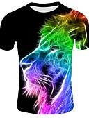 お買い得  メンズパンツ&ショーツ-男性用 プリント プラスサイズ Tシャツ ベーシック ラウンドネック 3D コットン ブラック XXL / 半袖
