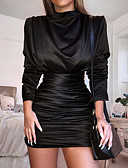 رخيصةأون فساتين للنساء-نسائي أنيق نحيل بنطلون Ruched / مطوي أسود / مناسب للحفلات