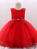 Χαμηλού Κόστους Βρεφικά φορέματα-Μωρό Κοριτσίστικα Ενεργό / Βασικό Πάρτι / Γενέθλια Μονόχρωμο Δαντέλα Αμάνικο Ως το Γόνατο Βαμβάκι / Πολυεστέρας Φόρεμα Ρουμπίνι