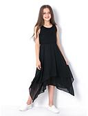 cheap Girls' Dresses-Kids Girls' Basic Daily Solid Colored Sleeveless Dress Black