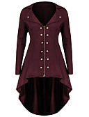 cheap Women's Coats & Trench Coats-Women's Going out Fall & Winter Plus Size Long Coat, Solid Colored Turndown Long Sleeve Polyester Purple / Wine