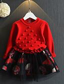 お買い得  女児 ドレス-子供 女の子 ベーシック 日常 ソリッド 長袖 ドレス ルビーレッド