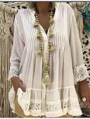 abordables Vestidos de Mujeres-Mujer Blusas / Boho Tallas Grandes Encaje - Encaje Camiseta, Escote en Pico Color sólido / Playa