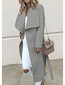 cheap Women's Coats & Trench Coats-Women's Daily Basic Regular Coat, Solid Colored Notch Lapel Long Sleeve Polyester Navy Blue / Gray / Wine L / XL / XXL