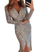 cheap Women's Sweaters-Women's 2019 Party / Cocktail / New Year Eve / Festival Sexy Asymmetrical Slim Bodycon Dress Sequins / Wrap / Glitter High Waist V Neck Purple Green Champagne L XL XXL