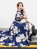 preiswerte Bluse-Damen Übergrössen Festtage Strand Chiffon Swing Kleid - Druck, Blumen Midi V-Ausschnitt