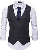 cheap Men's Blazers & Suits-Men's Daily Basic Fall Regular Vest, Solid Colored Shirt Collar Sleeveless Polyester Black / Dark Gray / Khaki L / XL / XXL