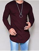 お買い得  メンズTシャツ&タンクトップ-男性用 プラスサイズ Tシャツ ラウンドネック ソリッド パープル XXXL / 長袖