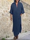 billige Herreskjorter-Hætte Herre - Ensfarvet Basale Skjorte Blå M / Langærmet