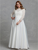 cheap Wedding Dresses-A-Line High Neck Floor Length Lace Made-To-Measure Wedding Dresses with Buttons / Lace by LAN TING BRIDE®