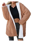 cheap Women's Coats & Trench Coats-Women's Daily Street chic Winter Long Coat, Solid Colored Hooded Long Sleeve Polyester Beige / Camel / Purple XL / XXL / XXXL