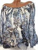 baratos Vestidos de Mulher-Mulheres Tamanhos Grandes Blusa Básico Frufru / Estilo Floral / Estampado, Floral / Geométrica / Padrão Ombro a Ombro