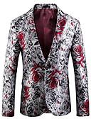 povoljno Muški sakoi i odijela-Muškarci Party Normalne dužine Sako, Geometrijski oblici Klasični rever Dugih rukava Poliester Print Red 54 / 56 / 58