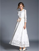 cheap Women's Dresses-Women's Lace Daily Chinoiserie Maxi Slim Swing Dress - Solid Colored Lace Spring White L XL XXL