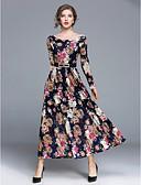 cheap Women's Dresses-Women's Party / Daily Street chic Maxi Swing Dress - Floral Fall Navy Blue L XL XXL