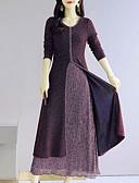 cheap Plus Size Dresses-Women's Plus Size Daily Going out Street chic Elegant Maxi Slim Sheath Swing Dress - Color Block Fall Cotton Black Purple XXXL XXXXL XXXXXL
