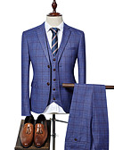 cheap Men's Blazers & Suits-Men's Party / Work Business Spring &  Fall Regular Suits, Plaid Peter Pan Collar Long Sleeve Blue / Black / Royal Blue XL / XXL / XXXL / Business Formal / Slim
