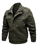 cheap Men's Jackets & Coats-Men's Practice Street chic Fall / Winter Plus Size Regular Jacket, Solid Colored Round Neck Long Sleeve Polyester Black / Army Green / Khaki 4XL / XXXXXL / XXXXXXL