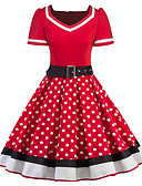 cheap Historical & Vintage Costumes-Audrey Hepburn Polka Dots Retro / Vintage 1950s Costume Women's Dress Black / Red Vintage Cosplay Half Sleeve Knee Length