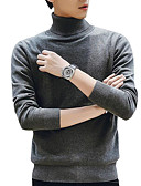 cheap Men's Sweaters & Cardigans-Men's Going out Solid Colored Long Sleeve Regular Pullover, Turtleneck Dark Gray / Beige / Wine XL / XXL / XXXL