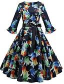 cheap Women's Dresses-Women's Daily Basic Sheath Dress - Floral Print Summer Navy Blue L XL XXL