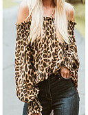 povoljno Ženski jednodijelni kostimi-Majica s rukavima Žene - Ulični šik Dnevno Leopard Spuštena ramena Nabori / Print Braon / Proljeće / Ljeto / Jesen / Zima