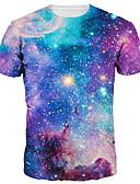 お買い得  メンズTシャツ&タンクトップ-男性用 プリント Tシャツ ベーシック / 誇張された ギャラクシー / 3D / カートゥン