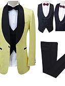 preiswerte Anzüge-Mit Mustern Reguläre Passform Polyester Anzug - Schalrevers Einreiher - 1 Knopf