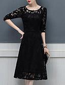 זול תחרה רומטנית-עד הברך דפוס, אחיד - שמלה נדן שחורה וקטנה מידות גדולות מתוחכם אלגנטית ליציאה בגדי ריקוד נשים