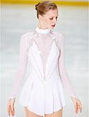 abordables Robe de Patinage-Robe de Patinage Artistique Femme Fille Patinage Robes Blanc Dos ouvert Spandex Haute élasticité Compétition Tenue de Patinage Fait à la main Patinage sur glace Patinage Artistique