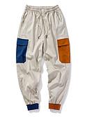お買い得  メンズパンツ&ショーツ-男性用 ストリートファッション チノパン / カーゴパンツ パンツ - カラーブロック ブラック