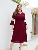 זול שמלות במידות גדולות-מידי רשת, אחיד - שמלה גזרת A רזה בגדי ריקוד נשים