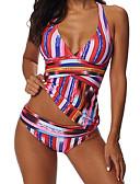 cheap Bikinis-Women's Basic Halter Neck Rainbow Cheeky Tankini Swimwear - Striped XXXL XXXXL XXXXXL Rainbow / Sexy