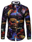 رخيصةأون قمصان رجالي-رجالي قميص ياقة مفرودة - عسكري طباعة حيوان أسود XL / كم طويل / الربيع / الخريف